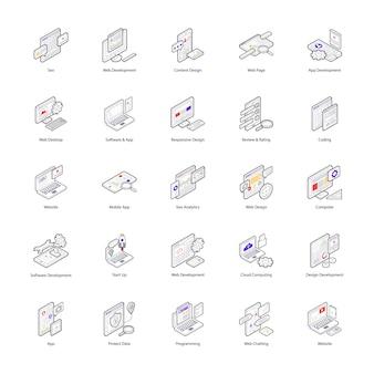 Die kreativen isometrischen icons des webdesigns sind einzigartig. ein exquisites paket, um die aufmerksamkeit des verbundenen unternehmens auf sich zu ziehen.