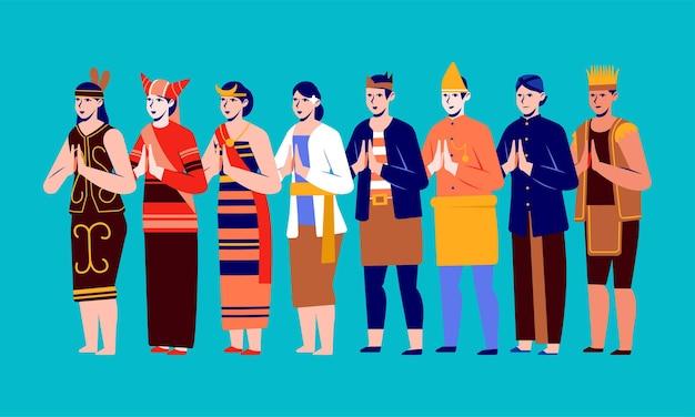 Die kulturelle vielfalt des indonesischen staatsvolkes tragen traditionelle kleidung aus jeder region