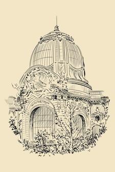 Die kuppel der kathedrale im klassischen stil mit bögen, statuen und uhren. skizze auf beigem hintergrund.