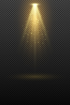 Die lampe, die eine goldene lumineszenz ausstrahlt, isoliert auf transparentem hintergrund. lichteffekt.