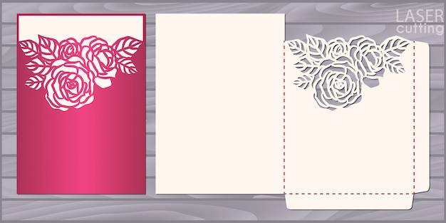 Die lasergeschnittene hochzeitskartenschablone. einladungstaschenumschlag mit rosenmuster. hochzeitsspitzeneinladung