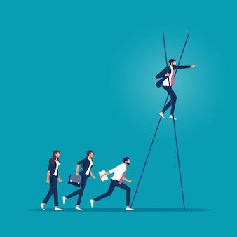 Die leiter, die dazu führt, visionärer zu werden, macht ein visionäreres konzept