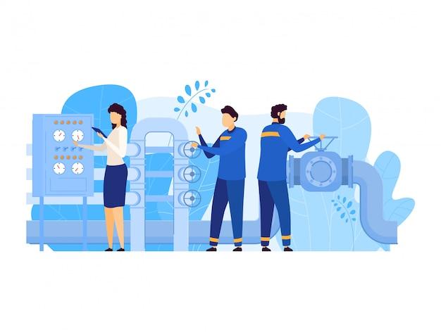 Die leute arbeiten in der illustration der ölgasindustrie, karikaturmann-arbeiterfiguren, die an der pipeline arbeiten, öffnen ventil auf weiß