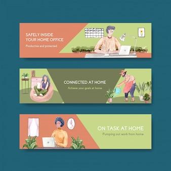 Die leute arbeiten von zu hause aus mit laptops, pc am tisch, auf dem sofa und im minigarten. home office banner konzept aquarell illustration
