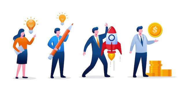 Die leute bauen ein start-up-konzept auf. teamwork und entwicklungsgeschäft. flache vektorillustration