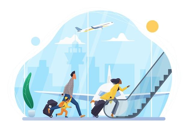 Die leute beeilen sich, ein flugzeug im flughafen zu besteigen, der zur rolltreppe des abflughallenterminals läuft