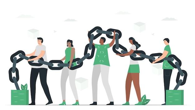 Die leute benutzen blockchain, um gemeinsam eine datenbank zu erstellen