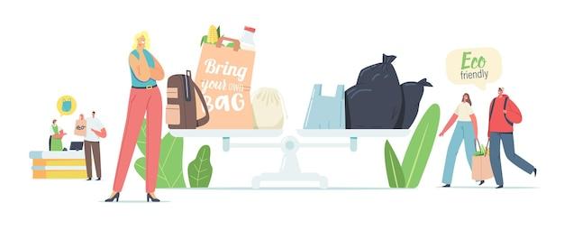 Die leute besuchen den laden mit wiederverwendbaren öko-taschen und -verpackungen. männliche und weibliche charaktere verwenden ökologische verpackungen zum einkaufen im geschäft. umweltschutz, kauf, gekauft. cartoon-vektor-illustration