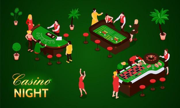 Die leute, die in den isometrischen ikonen des kasinos spielen, stellten lokalisiert auf grüner illustration des hintergrundes 3d ein