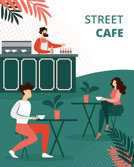Die leute, die sich draußen im sommer-café entspannen, entspannen sich
