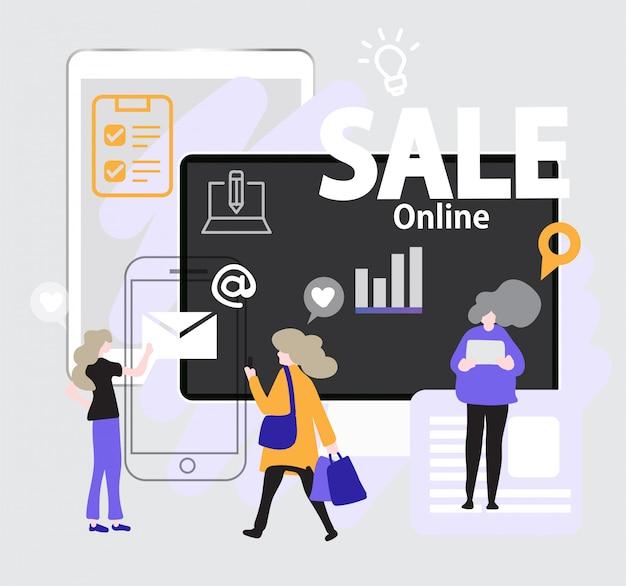 Die leute entscheiden sich für den online-kauf