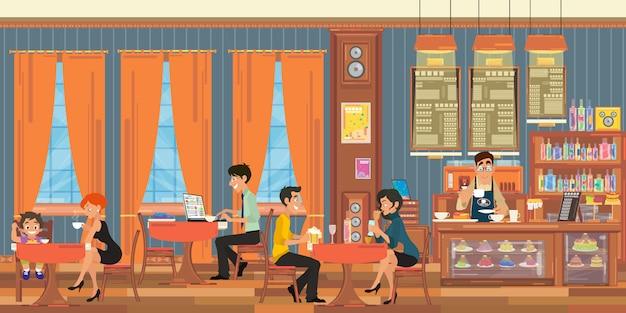 Die leute entspannen sich in der cafeteria.