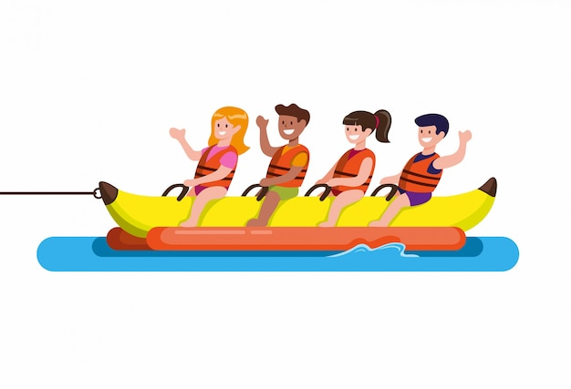 Die leute fahren auf einem bananenboot, wassersport am strand. karikatur flacher illustrationsvektor isoliert