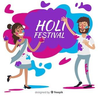 Die leute feiern das holi-festival
