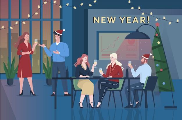 Die leute feiern neujahr und weihnachten im büro. geschäftsparty