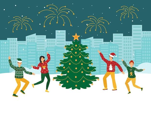 Die leute feiern weihnachten auf der straße.