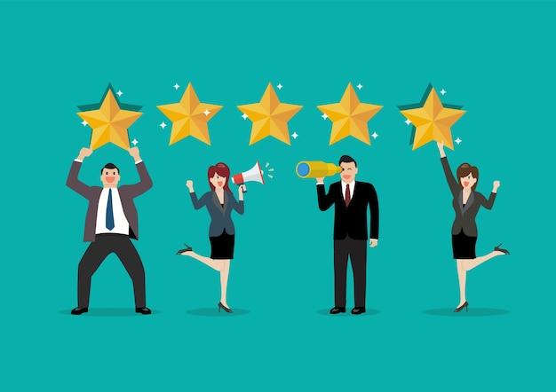 Die leute geben bewertungen und feedback. feedback mit zufriedenheitsbewertung.