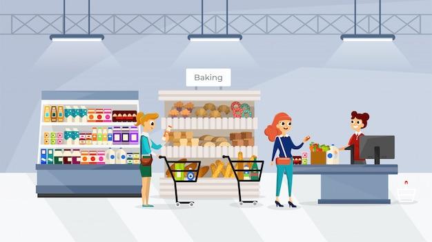 Die leute gehen im supermarkt einkaufen