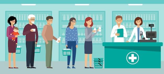 Die leute in der apotheke kaufen medikamente