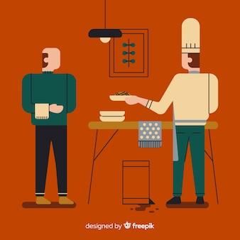 Die leute kochen in der küche