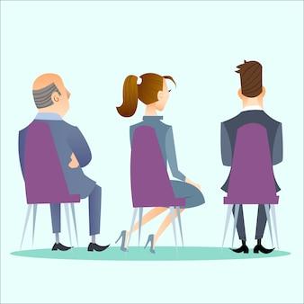 Die leute lehnen sich auf der konferenz, dem konzert, dem meeting oder dem öffentlichen event zurück