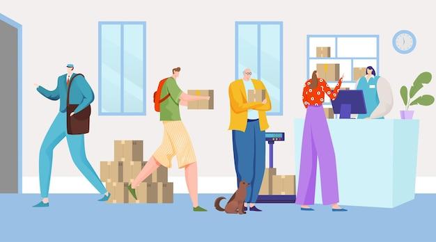 Die leute liefern post ins büro