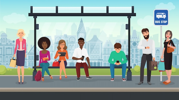 Die leute saßen an der modernen bushaltestelle. illustration.