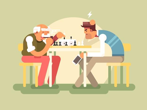Die leute spielen schach