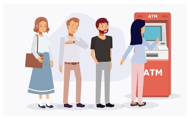 Die leute stehen am geldautomaten schlange und warten in der schlange auf den gebrauch des geldautomaten, einige werden aufgrund zu langer zeit wütend. flache vektor-cartoon-charakter-illustration.