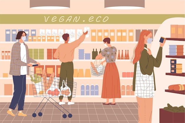 Die leute tragen masken im supermarkt.