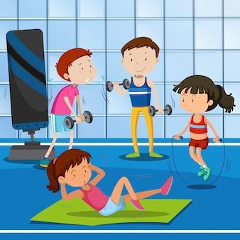 Die leute trainieren im fitnessstudio