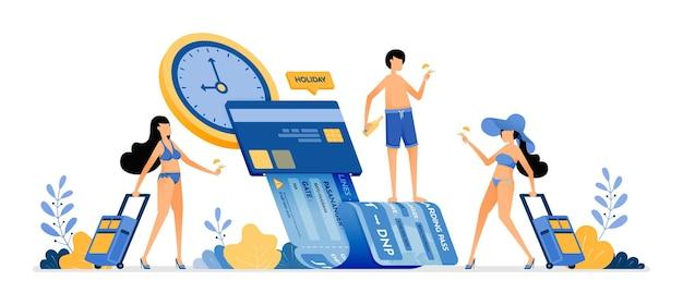 Die leute wählen zeit und datum, um urlaubskarten zu kaufen