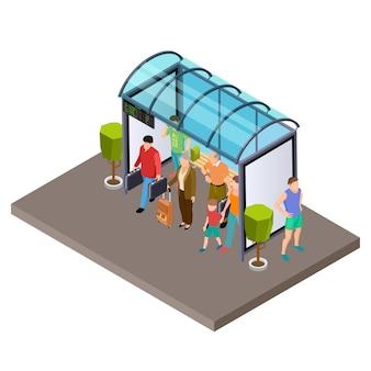 Die leute warten auf den bus an der isometrischen vektorillustration der bushaltestelle