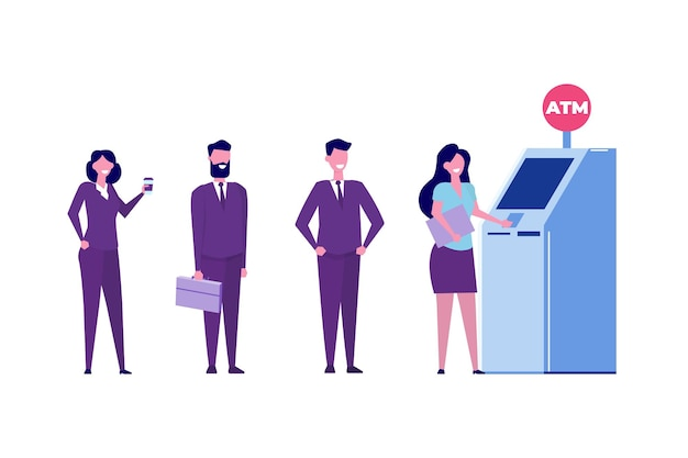 Die leute warten in der nähe des geldautomaten in der schlange