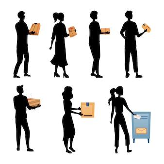 Die leute warten in der warteschlange, um pakete und briefe zu senden. satz von zeichen silhouetten abholen, pakete senden. postzustelldienst, porto transport und beruf.