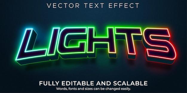 Die lichter haben einen bearbeitbaren texteffekt, einen rgb- und einen neon-textstil