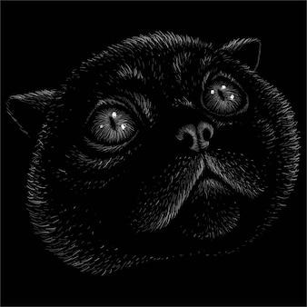 Die logo-katze für tattoo- oder t-shirt-design oder outwear. diese zeichnung wäre schön auf dem schwarzen stoff oder der leinwand zu machen.