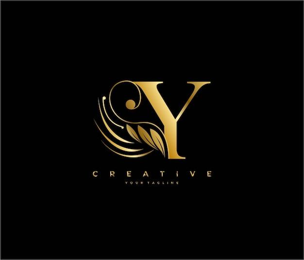 Die luxus-schönheit des ersten y-buchstabens blüht das goldene monogramm-logo des ornaments