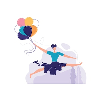 Die mädchen springend mit ballonvektorillustration