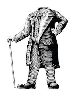 Die männer in einem anzug ohne kopfhand zeichnen vintage-gravur-stil