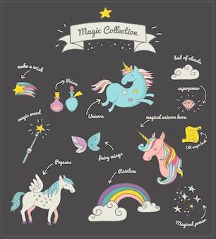 Die magische handgezeichnete gekritzelkollektion mit einhorn, regenbogen