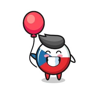 Die maskottchenillustration der tschechischen flagge spielt ballon, niedliches design für t-shirt, aufkleber, logo-element