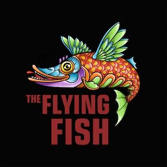 Die maskottchenillustration des fliegenden fisches