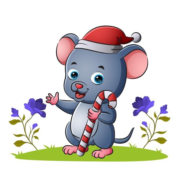 Die maus mit weihnachtsmütze hält die zuckerstange der illustration