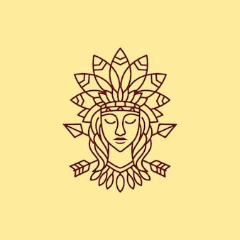 Die maya-mädchen-illustration