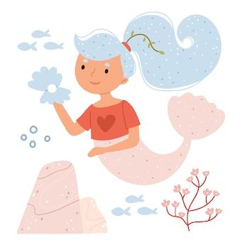 Die meerjungfrau hält eine perle