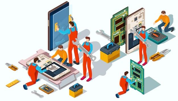 Die meister sind mit der reparatur von mobiltelefonen und geräten beschäftigt.