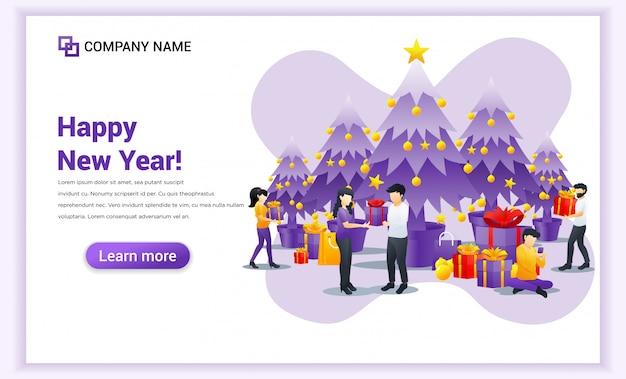 Die menschen feiern das neue jahr mit einem geschenk-box-banner