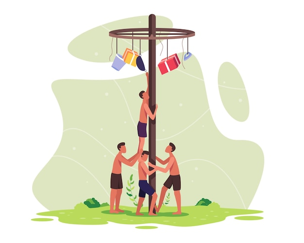 Die menschen feiern den unabhängigkeitstag indonesiens. indonesien traditionelle spiele während des unabhängigkeitstages. die teilnehmerteams arbeiten zusammen, um zu klettern, um einen preis auf einer stange zu erhalten. vektor in einem flachen stil