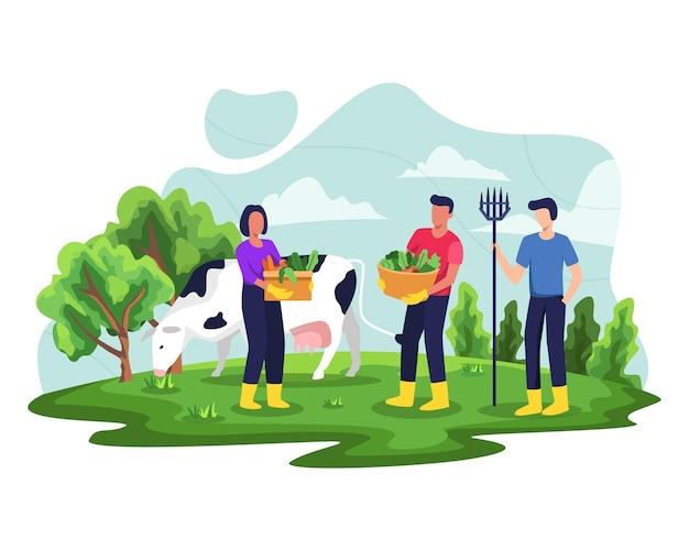 Die menschen genießen gartenarbeit und pflanzenillustration. landwirte oder landarbeiter, die pflanzen anbauen. illustration in einem flachen stil